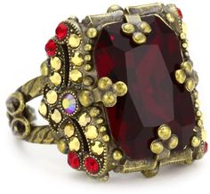 """Gold Rings for Women, Sorrelli """"Ruby Cocktail"""" Vintage Emerald Cut Red and Gold Crystal Cocktail Adjustable Ring"""