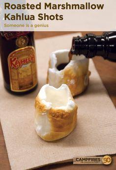 Kahlua Roasted Marshmallow Shots - 50 Campfires #kahula #campcocktails #marshmallows
