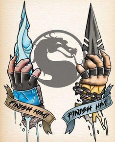 Sub-Zero & Scorpion - Mortal Kombat, Tattoo Design - Тату - Sub Zero Mortal Kombat, Scorpion Mortal Kombat, Mortal Kombat Tattoo, Mortal Kombat Art, Gaming Wallpapers, Animes Wallpapers, Gaming Tattoo, Video Game Art, Fan Art
