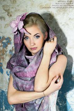 "Scarf stole ""Warm charroit"" Wool, silk. Handmade. Designer Valentina Kostetska kostetska.com"