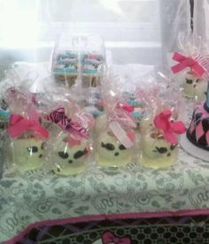 Monster High Party - candied apples...or maybe giant marshmallows dipped in chocolate with pink sprinkles