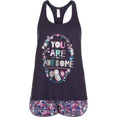 Accessorize You Are Awesome Vest Set ($43) ❤ liked on Polyvore featuring intimates, sleepwear, pajamas, pijamas and owl pajamas