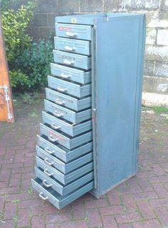 Vintage Industrial Metal Cabinet 27 Drawers Hobart Steel