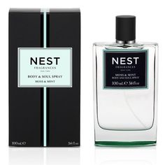 Moss & Mint Body and Soul Spray by NEST by NEST. $48.00. NEW! Garden mint, apple blossom and muguet are infused with a touch of oakmoss and vetiver. Luxuriate in your favorite NEST Fragrances scents anytime, anywhere with this exquisitely formulated Body & Soul Eau de Toilette Spray. Lightly scented to perfume and refresh the skin, NEST's Body & Soul spray enlivens the senses with spirited fragrances. Packaged in a handsome, custom-designed ombré glass bottle that correspon...