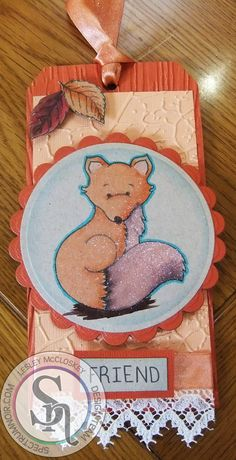 A tag made for the launch of Spectrum Noir Sparkle pens. Image from Crafter's Companion Forest Friends stamp set. More details can be found at http://stampingbubbles.blogspot.co.uk/2015/10/foxy-sparkle.html