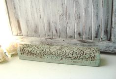 Shabby Chic Mint Storage Box Light Green by WillowsEndCottage