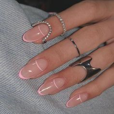 Pink Tip Nails, Almond Nails Pink, Almond Nails French, French Tip Acrylic Nails, Almond Acrylic Nails, Summer Acrylic Nails, Best Acrylic Nails, Summer French Nails, Classy Almond Nails