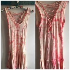 Coral and Cream Lace Up Tie Dye Dress Cute little dress. Cotton. Laces up in back and ties. Ruffle hem. Forever 21 Dresses