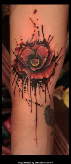 ... tattoo abstract red flower tattoo red abstract flower tattoo on leg