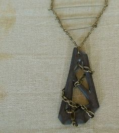 Obsidian Porcelain Pendant Necklace by FieldAndFeather on Etsy, $42.00