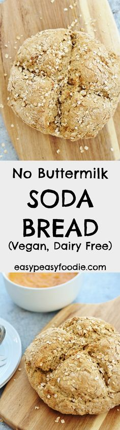 No Buttermilk Soda Bread (Vegan & Dairy Free) via @easypeasyfoodie