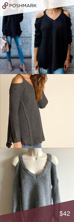 🌹 Cold Shoulder Knit Sweater 🌹Cold Shoulder Knit Sweater, Super Trendy Right Now! Brand New And In Packing, Cotton Blend, Nice Thick Fabric With Frayed Detailing!   🛍Bundle 2+ Items For 15% Off 📦Fast Shipping  🚭Smoke Free Home ❌No Trades Sweaters