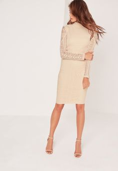 Missguided - Lace Long Sleeve High Neck Midi Dress Nude