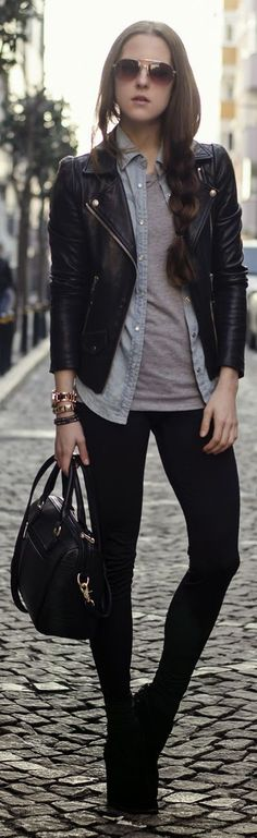 layering: black leather jacket + open denim shirt + gray T + black leggings…