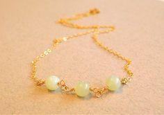 Delicate New Jade Gemstone Necklace, Serpentine Necklace, Delicate Necklace, Gold Filled Necklace by jljewellerydesign on Etsy