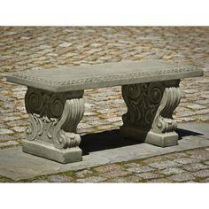 Campania International Classic Garden Cast Stone Backless Garden Bench - Outdoor Benches at Hayneedle