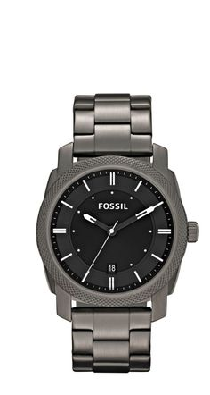 A Fossil® Machine Smoke Ion-Plated with Black Dial Men's Dress Watch makes for a great gift.