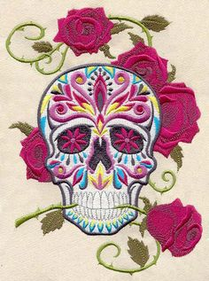 Calavera - Day of the Dead Skull with Rose - Embroidered Decorative Linen Kitchen Towel or Absorbent White Cotton Flour Sack Towel