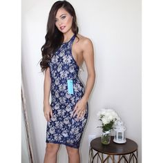 NEW Floral Lace Bodycon Halter Midi Dress This dress is the most flattering Bodycon midi with pretty floral lace  neck button closure. Listed under nasty gal for exposure ✨ Nasty Gal Dresses Midi