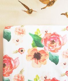 FLORAL DREAMS (DESIGNER): A vibrant and beautiful watercolor floral print. Love! Also available with a blush background (contact us for a custom