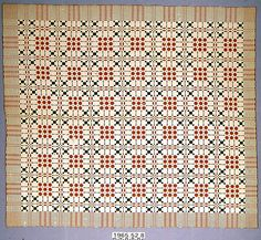 Coverlet; undyed cotton with blue and red wool, double cloth.  - American Textile History Museum in Lowell, Massachusetts