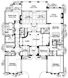 courtyard home plans   ... Corner Lot, Spanish, Luxury, Mediterranean House Plans & Home Designs