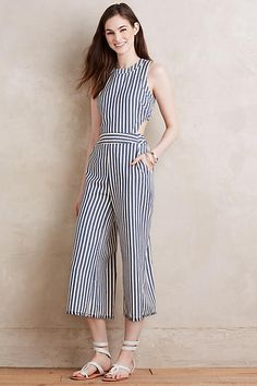 f23b2ddac2ad Love this cropped leg jumper with side cutouts. Joa Sailor Stripe Jumpsuit  Tatoo