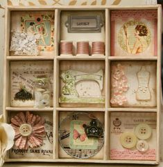 """""""Vintage Shadow Box Collage"""" I think many of us have old items from grandmas old sewing box,a broach,buttons from a sweater from Woolworths! Altered Boxes, Vintage Crafts, Vintage Sewing, Shadow Box, Decoupage, Craft Projects, Projects To Try, Sewing Crafts, Sewing Rooms"""