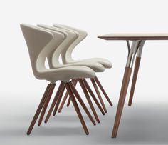 The 902 dining chair shown with The 843 dining table