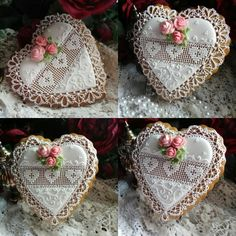 Heart Valentine with needlepoint hearts, crocheted lace trim, and pink roses. Beautifully crafted cookies by Teri Pringle Wood