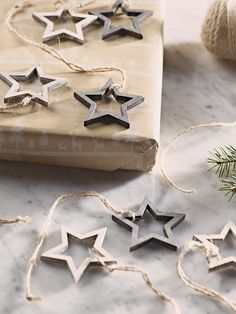 NEW Fifteen Wooden Star Silhouettes - Tree Decorations - It's Never Too Early for Christmas - Indoor Living