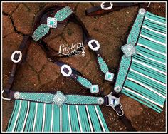 custom turquoise fringed tack set