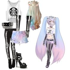 pastel goth #2 by red-foxess-and-wolf on Polyvore featuring Cotton Candy and Accessorize