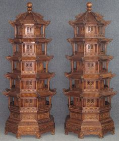 PAIR OF CHINESE CARVED PAGODA TEMPLES : Lot 85