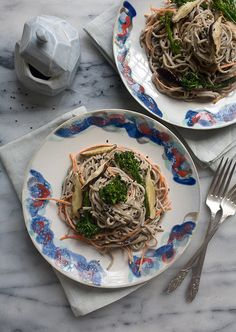 Spicy Tahini Soba Noodle Salad with Carrots and Shiitakes