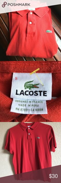 """Lacoste red polo sz 5 medium men's Lacoste men's red polo sz 5 =medium   Arm pit to arm pit 22"""" across chest length is 27.5 """" classic red Lacoste Shirts Polos"""