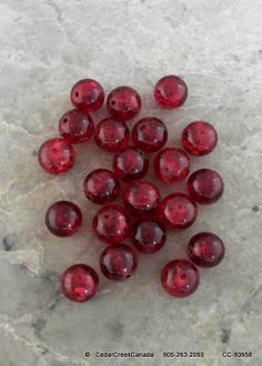 Red 12mm Crackle Glass Beads                           CC-80658