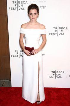 "Emma Watson Kicks Off the White Dress Trend at the Tribeca Premiere of ""The Circle"" | Tom + Lorenzo"