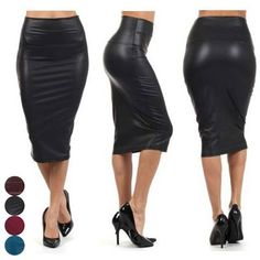 3612ffe0a8128 Fashion Women High Waist Faux Leather Pencil Skirt Bodycon Skirt Solid Sexy  OL Office Skirts FS99