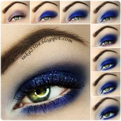 This gorgeous night out eye makeup uses different shades of purple and blue, topped with glitters for a more festive feel. Lush lashes make this look prettier. See the product list here.