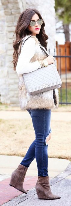 Camel And White Faux Fur Vest by The Sweetest Thing