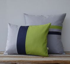 MUST have these.   MUST pay less! Lime Colorblock & Striped Pillow Set of 2  by JillianReneDecor, $135.00