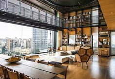 """""""Maybe the favorite loft I've posted so far. Incredible in it's own way, definitely top 3 for me. What do you guys think? Design by Bernard Khoury, home…"""" Slowly realizing the charm of lofts Interior Exterior, Interior Architecture, Living Spaces Furniture, Space Furniture, Design Furniture, Modern Furniture, Living Rooms, House Seasons, Penthouse Apartment"""
