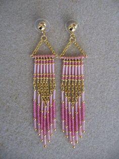 DIY Bijoux  seed bead earrings  lovely eye candy  #wire #jewelry
