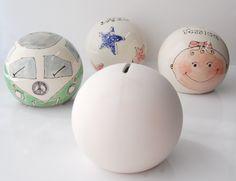 Bisque pottery ceramics - round spherical moneybox or money bank.