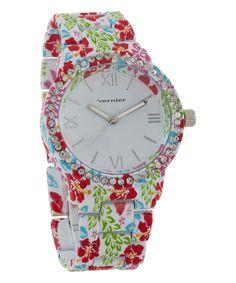 Look at this #zulilyfind! Pink Floral & Rhinestone Soft Touch Watch by Vernier #zulilyfinds
