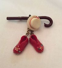 Vintage 1930s 40s BAKELITE ERA CELLULOID CANE HAT AND DANGLING SHOES PIN BROOCH
