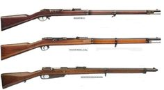 """In the photo above, three generations of guns used by Germany from 1871 to 1888 - the Mauser 1871, Mauser 1871/84 Rifle and Comission (Gewehr 1888), successors to The rifle Dreyse """"needle-gun,"""" seen elsewhere on this board."""