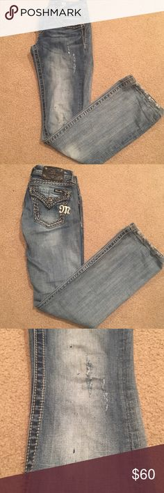 "Miss Me jeans ""Destroyed"" style boot cut Miss Me jeans. Light washed color with small rips and paint-like splatters (part of ""destroyed"" style, they came this way) picture 3 shows rips and design. Simple pockets, really cute style all around. Size 25 waist. Worn a few times, in good condition Miss Me Jeans Boot Cut"