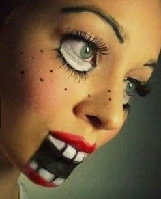Shows how to do makeup to represent a ventriloquist dummy. Awesome!